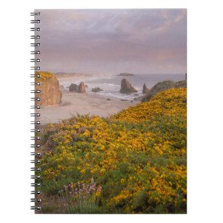 Bandon Beach Offshore Rocks Yellow Flowering Gorse Spiral Notebook
