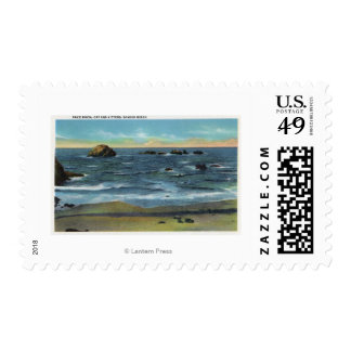 Bandon Beach View of Face Rock, Cat and Kittens Postage