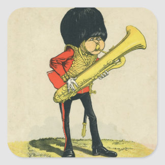 Bandsman de los guardias del granadero pegatina cuadrada