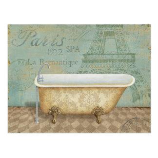Bañera del francés de Brown del vintage Postal