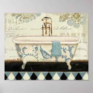 Bañera del francés del vintage póster