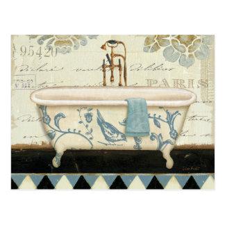 Bañera del francés del vintage postal