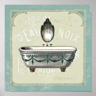 Bañera del vintage con el espejo póster