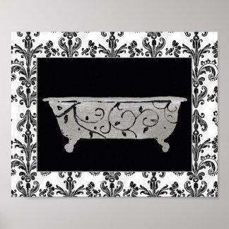 Bañera en blanco y negro póster