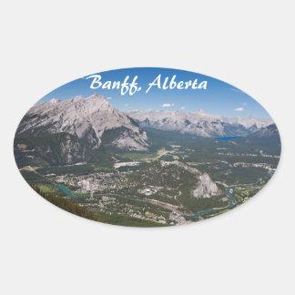 Banff Aerial View Oval Sticker