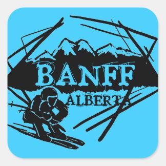 Banff Alberta Canada blue skier logo stickers