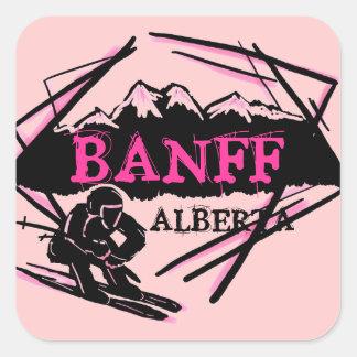 Banff Alberta Canada pink skier logo stickers