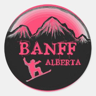 Banff Alberta Canada pink snowboard stickers