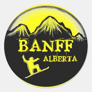 Banff Alberta Canada yellow snowboard stickers