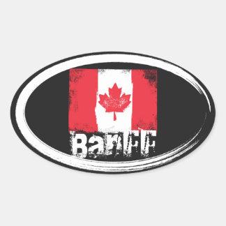 Banff Grunge Flag Oval Sticker