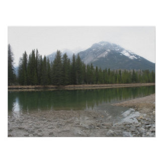 Banff Mountains Trees & Water Canada Nature Poster