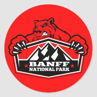 Banff National Park Red Bear Classic Round Sticker