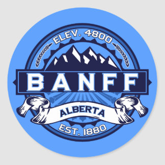 Banff Tile Blue Classic Round Sticker