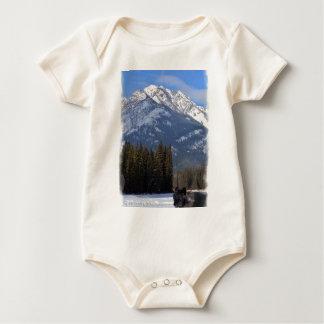 Banff Wolf in Winter with Mt Cascade Baby Bodysuit