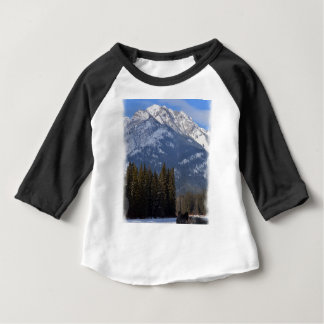 Banff Wolf in Winter with Mt Cascade Baby T-Shirt