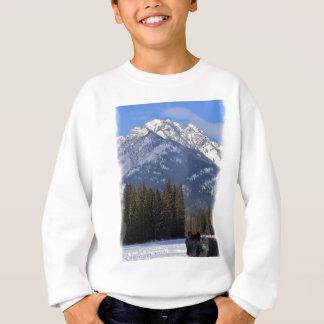 Banff Wolf in Winter with Mt Cascade Sweatshirt
