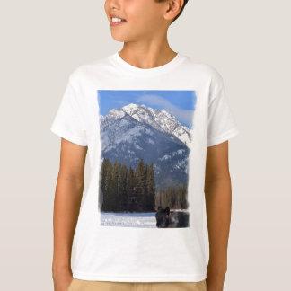 Banff Wolf in Winter with Mt Cascade T-Shirt