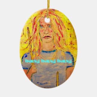 bang bang bang Drummer Girl Ceramic Ornament