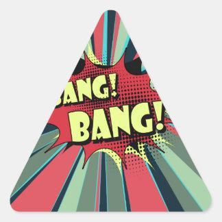 Bang bang comic book effect sound triangle sticker