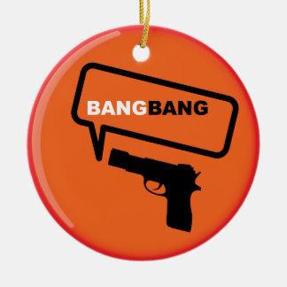 Bang Bang Double-Sided Ceramic Round Christmas Ornament