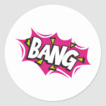 Bang Cartoon Pow Zap Round Stickers