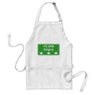 Bangkok Ahead Watch Out! ⚠ Thailand Traffic Sign ⚠ Adult Apron
