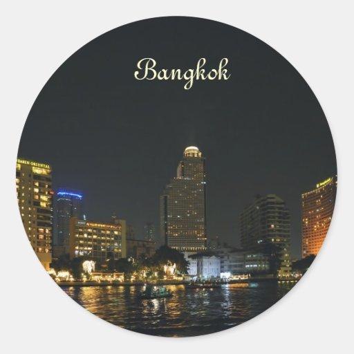 Bangkok at night round sticker