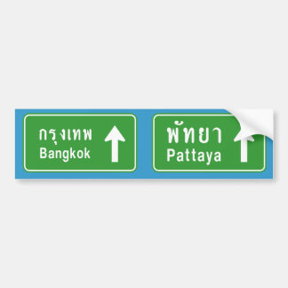Bangkok Pattaya Ahead ⚠ Thai Traffic Sign ⚠ Bumper Sticker