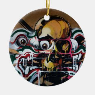 Bangkok Skull Graffiti Ceramic Ornament