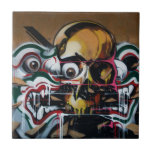 Bangkok Skull Graffiti Ceramic Tile<br><div class='desc'>Created from a small excerpt of a large street art graffiti mural near the famous Khao San Road in Bangkok,  Thailand,  then blended with digital magic. Unfortunately,  the original artwork is now gone. .</div>