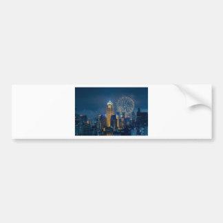 Bangkok skyline at new years eve night panorama bumper sticker