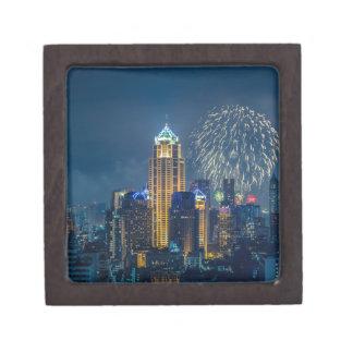 Bangkok skyline at new years eve night panorama gift box