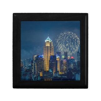 Bangkok skyline at new years eve night panorama jewelry box