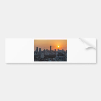 Bangkok skyline sunset panorama bumper sticker