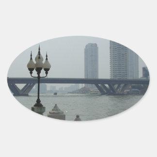 Bangkok Thailand Chao Phraya River Overlook Oval Sticker