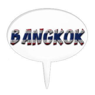 Bangkok Thailand Thai Flag Colors Typography Cake Topper