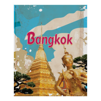 Bangkok Vintage Travel Poster Posters