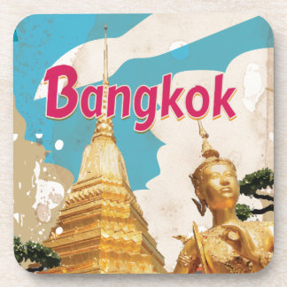 Bangkok Vintage Travel Poster Beverage Coaster