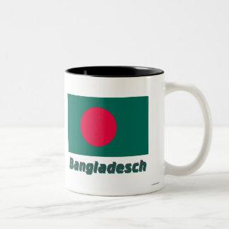 Bangladesch Flagge mit Namen Two-Tone Coffee Mug