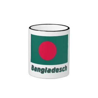 Bangladesch Flagge mit Namen Ringer Coffee Mug