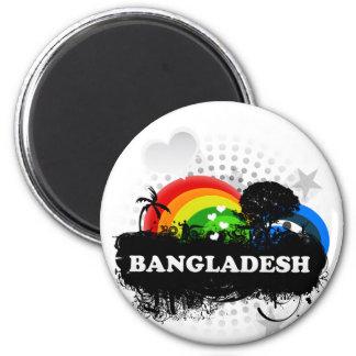 Bangladesh con sabor a fruta lindo imán redondo 5 cm