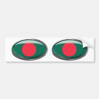 Bangladesh Flag Glass Oval Bumper Sticker
