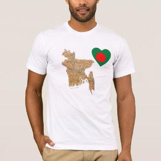 Bangladesh Flag Heart and Map T-Shirt