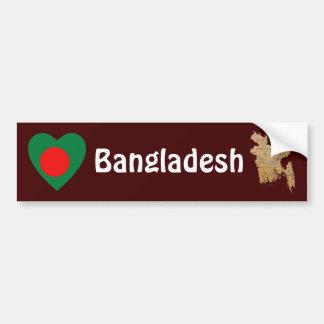 Bangladesh Flag Heart + Map Bumper Sticker