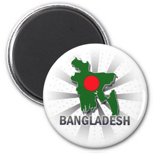 Bangladesh Flag Map 2.0 2 Inch Round Magnet