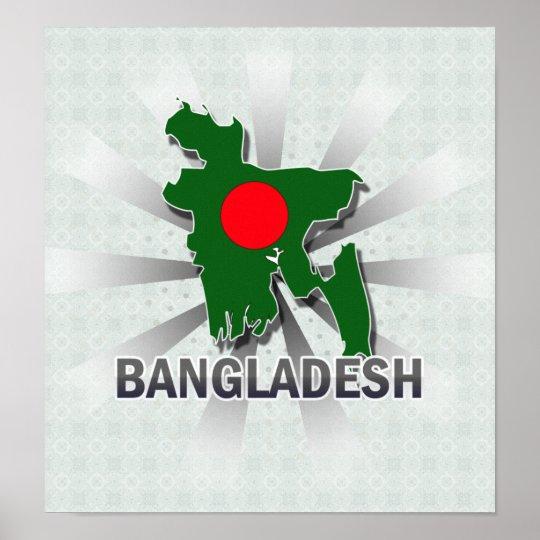 Bangladesh Flag Map 2.0 Poster