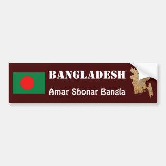 Bangladesh Flag + Map Bumper Sticker Car Bumper Sticker