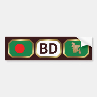 Bangladesh Flag Map Code Bumper Sticker Car Bumper Sticker