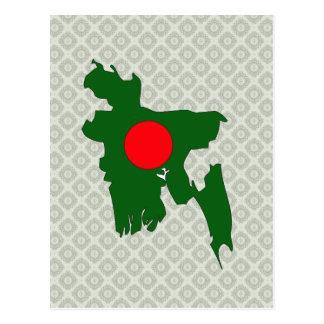 Bangladesh Flag Map full size Postcard