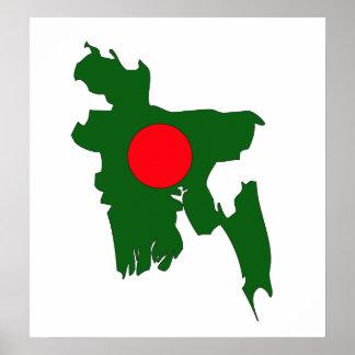 Bangladesh Flag Map full size Poster